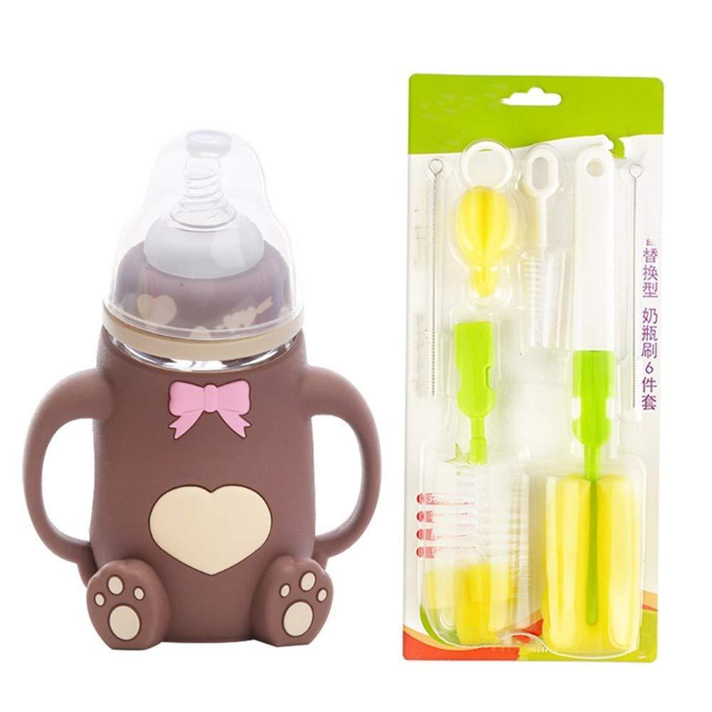 LS New 2 in 1 Flasche-B/ürste zuf/ällige Farbe DeliveryLS Pacifier Pinsel Reinigungsb/ürste Baby-oder Kinderflasche Nippel-Schlauch