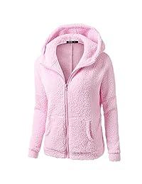 Women Jacket ,Vanvler Ladies Winter Hooded Sweater Coat Zipper Warm Wool Coat Outwear Plus Size