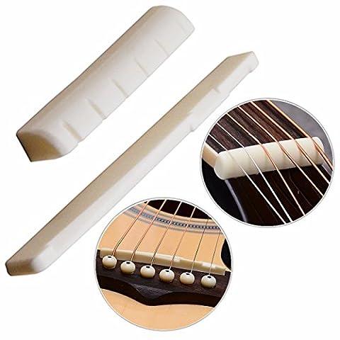 Luvay 1 Pair of 2pcs Acoustic Guitar (6 Strings) Bone Bridge Saddle and Nut, Made of Real Cattle - Acoustic Classical Guitar Bridge