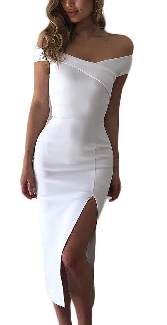 Donna Estivi Eleganti Abito da Sera Spacco Solido Slinky V
