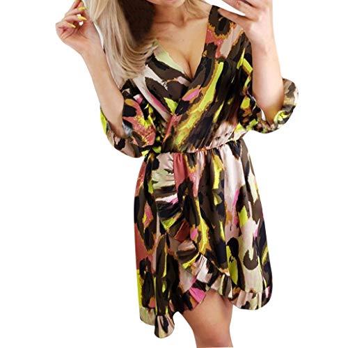 Women Summer Casual Short Sleeve Printed V-Neck Fashion Dress Hotkey Womens Shirts Plus Size Brown ()
