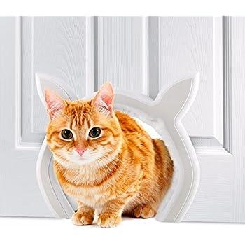 Prouder Pet Cat Door For Interior Indoor Doors, Cat Shaped, DIY Fits Most  Standard