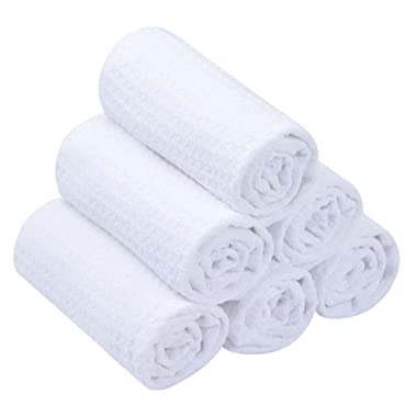 SINLAND Microfiber Dish Rags Waffle Weave Dish Cloths Kitchen Cleaning Cloth Fast Drying Towels 12Inchx12Inch 6 Pack White