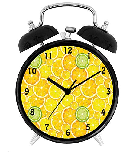 - 22yiihannz Lemon Lime Citrus Round Cut Circles Big and,Battery Operated Quartz Ring Alarm Clock for Home,Office,Bedroom,White and Green_4inch