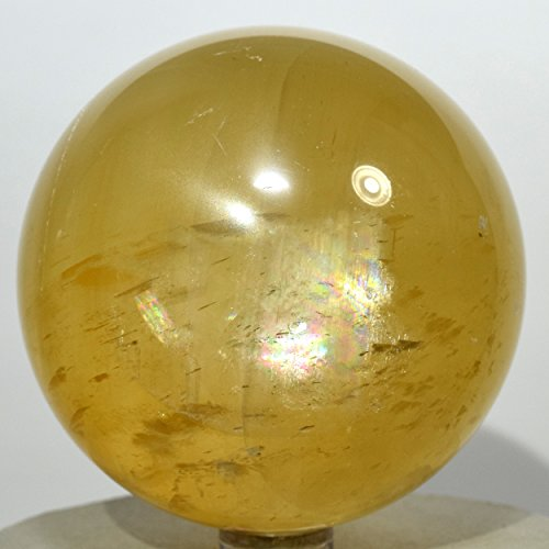 2 7  Rainbow Yellow Iceland Spar Sphere Natural Optical Calcite Mineral Sparkling Ball Polished Crystal Decor Stone   China   Plastic Stand
