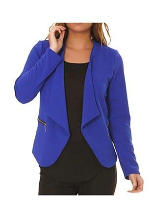 dmarkevous - Veste de Blazer Femme Bleue Royale avec Poches et Zip doré  fictif - Unique 2c901235b5df