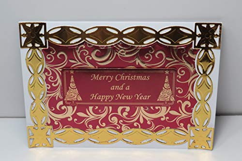 Handmade Ornate Elegant Red & Shiny Metallic Gold Mirror Swirl Patterned Merry Christmas and a Happy New Year Christmas Card with Printed Verse - 5 x 7 inches - One of a Kind