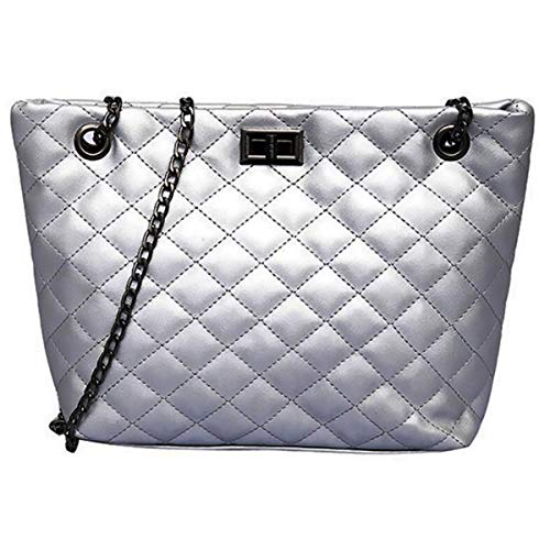 (Chains Tote Bags for Women,Top Handle Weekender Shoulder Handbag,Hobo Purses (Small, Solid Silver))
