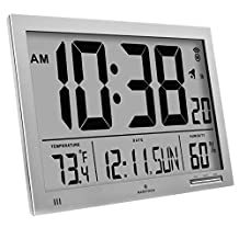 MARATHON CL030061GG Super-Jumbo Atomic Digital Wall Clock
