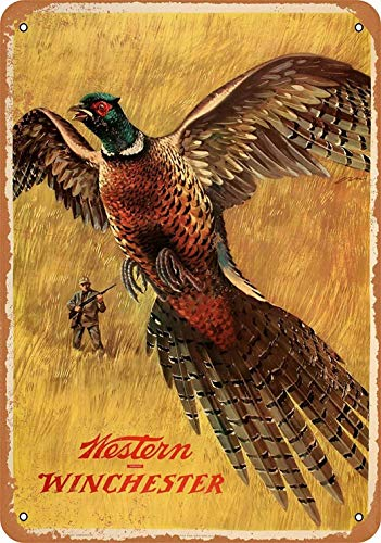 PaBoe 12 x 16 Metal Sign - Western Winchester Pheasant - Vintage Decorative Tin Sign
