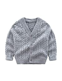 Wellwits Kids Boys Cable Knit V Neck School Uniform Cardigan Sweater 2-8 Years