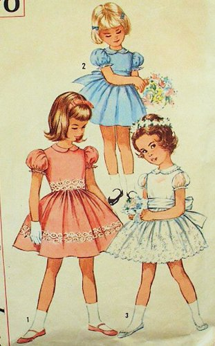 Simplicity 4870 Girl's 1950's One-Piece Vintage Dress Sewing Pattern, Flower Girl, Party Dress, 1st Communion Check Offers for -