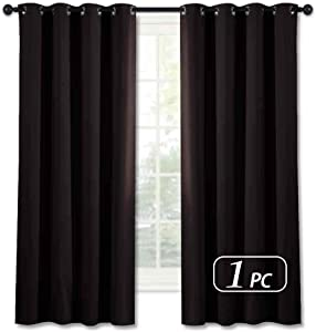 NICETOWN Blackout Window Drape and Curtain - (Toffee Brown Color) Window Treatment Panel for Home Theater, Noise Reducing Drape/Drapery, 52 inches Wide by 63 inches Long, 1 Piece