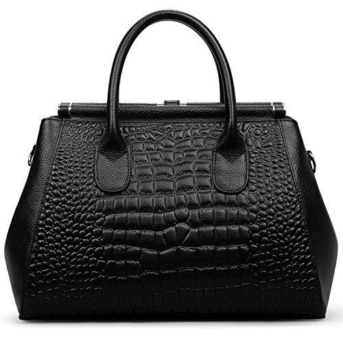 Jack&Chris Ladies Top Handle Tote Bag for Women Crocodile Embossed Purses and Handbags on Clearance, WBDZ024 (SP-Black) by Jack&Chris (Image #3)