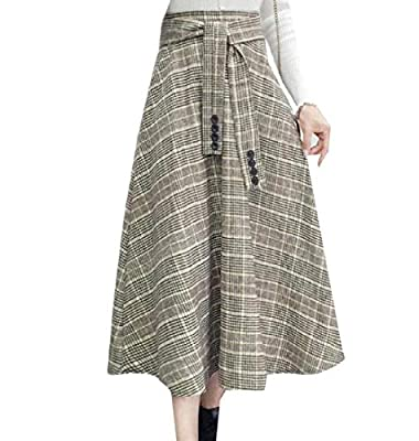 Abetteric Womens Fall Winter Woolen Plaid Retro Long Belted Design Skirt