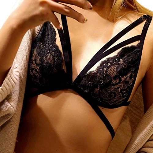 [Sunfei Women Sexy Lace Floral Sheer Bralette Bustier Bra Lingerie (S, B)] (Lace Stretch Costumes)