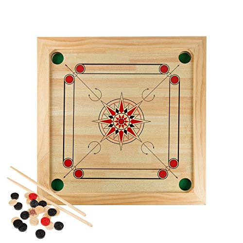 Carrom Board Game Classic Strike and Pocket Table Game with Cue Sticks, Coins, Queen and Striker for Adults, Kids, Boys and Girls by Hey! Play! by Hey! Play!