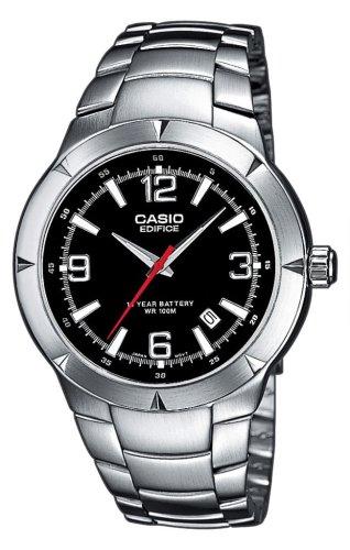 Casio Casio Edifice EF-124D-1AVEF - Reloj de caballero de cuarzo con correa de acero inoxidable plateada: Amazon.es: Relojes