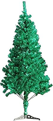 6' FT Sparking Gorgeous Folding Artificial Tinsel Green Christmas Tree 450tips