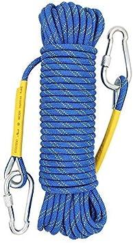 X XNEN Cuerda de Tejiendo 8mm - Cuerda de Seguridad con 2 Mosquetón,para Escalar al Aire Libre y en Interiore Perfessional Rappelling Auxiliar Rescate ...
