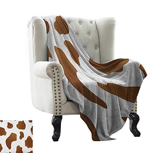 Cow Print, Throw Blanket,Brown Spots on a White Cow Skin Abstract Art Cattle Fur Farm Animals Cowboy Barn 70