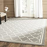 """Safavieh Courtyard Collection CY6918-246 Anthracite and Bone Indoor/ Outdoor Square Area Rug, 6 feet 7 inches Square (6'7"""" Square)"""