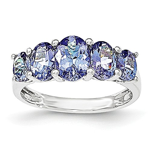 Jewels By Lux 14k White Gold 5-Stone Oval Tanzanite Ring, Gem Ctw.4.5 - 14k Oval Tanzanite Ring
