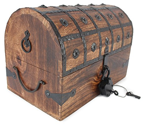 WellPackBox Wooden Pirate Treasure Chest Box With Antique Style Lock And Skeleton Key (Large)