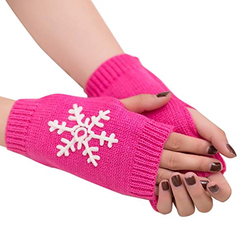 LIULIULIU Women Girl Christmas Snowflake Knitted Arm Fingerless Warm Winter Gloves Soft Warm Mitten (Hot Pink)