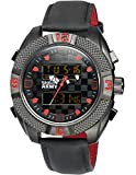 SHARK ARMY Men's Sport Wrist Watch Day/Date/Chronograph/Alarm/LCD Black Leather SAW167