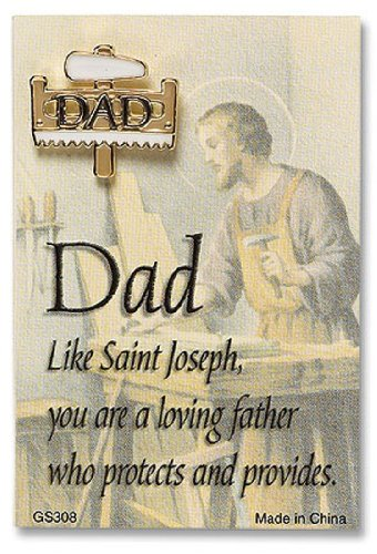 (Fathers Day Gift for Dad Saw and Hammer Shape Lapel Pin with Saint Joseph Card)