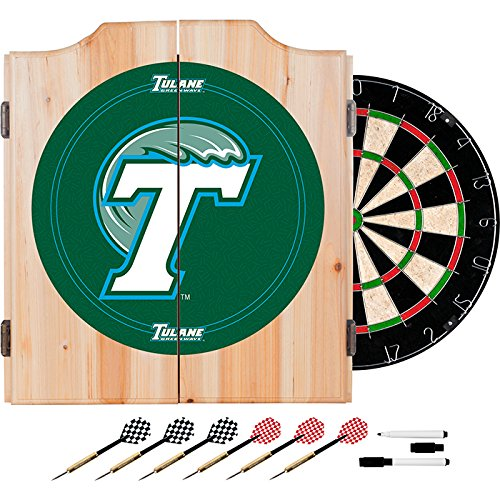 Tulane University Deluxe Solid Wood Cabinet Complete Dart Set - Officially Licensed! by TMG