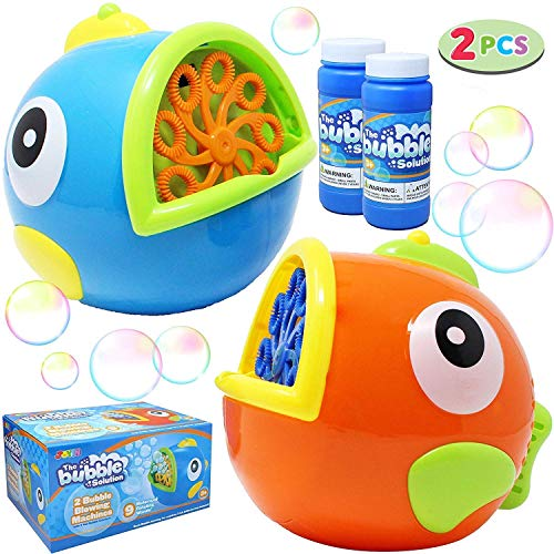 JOYIN 2 Pack Bubble Machines for Kids, Automatic Bubble Blowers, Bubble Makers, Bubbles Party Favors Supplies, Summer Toy, Outdoor / Indoor Activity Use, Birthday Gifts