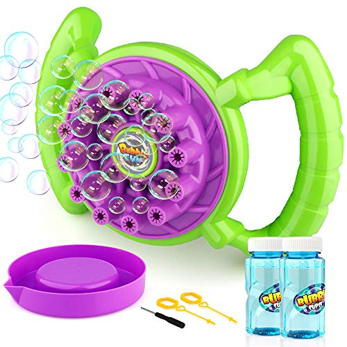 Baztoy Bubble Machine Handheld Bubble Blower Toy Outside Toys Birthday Parties Gifts Outdoor for Kids Toodlers Boys Girls with 2 Extra Bubbles Solution