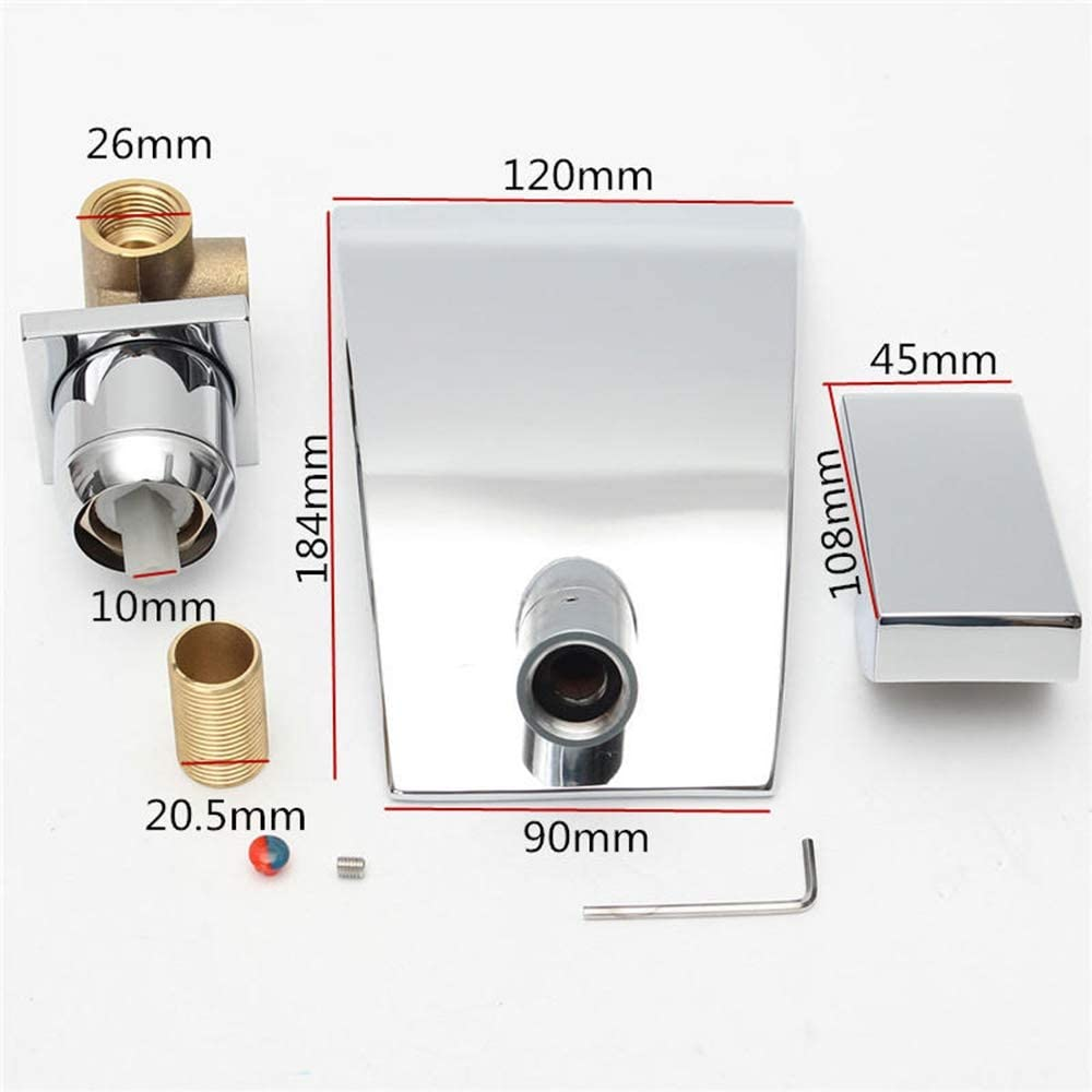 FeliciaJuan Household Faucet Modern Bathroom Faucet Single Handle Sink Mixer Tap Wall Mounted Chrome Brass Waterfall Color : Silver, Size : One Size