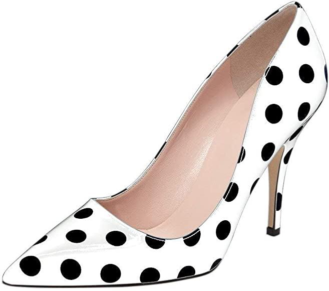 KingRover Womens Fashion Stripes Printing Block Heel Office Pumps Pointed Toe Slip On Plus Size Dress Party Wedding Shoes