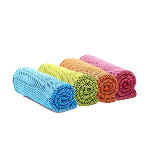 "[4 Packs] Cooling Towel (40""x 12""), Ice Towel, Microfiber Towel, Soft Breathable Chilly Towel for Yoga, Sport, Gym, Workout ,Camping, Fitness, Running, Workout & More Activities, U pick"