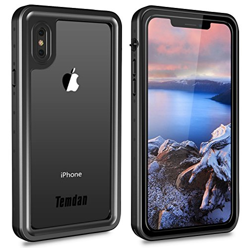 Price comparison product image iPhone X Waterproof Case, Temdan Waterproof Full-body Rugged Case with Built-in Screen Protector&Floating strap for Apple iPhone X 2017 / iPhone10 Release (Black)