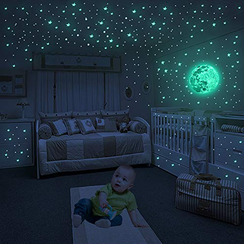Luminous Wall Decals Ceiling Stickers Glow in The Dark Moon and Stars Starry Sky Shining Decals Bubble Stereo Decoration Perfect for Kids Bedroom Bedding Room Gifts, 1 Moon + 404 Dots + 422 Stars