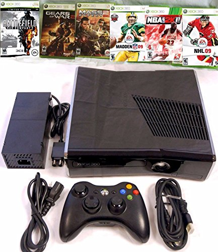 Microsoft XBOX 360 S Slim 8GB Console Bundle System + 6 Games Gears of War 2 Mass Effect 2 Madden NFL 2009 NBA 2K11 NHL 2009 Battlefield: Bad Company (Limited Edition)