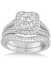 Split Shank Diamond Halo Channel-Style Bridal Set Palladium 1.64 ct (No center stone included)