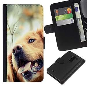 Stuss Case / Funda Carcasa PU de Cuero - Golden Retriever Dog Canine Pet - LG G3