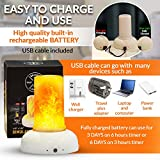 ABAMERICA LED Flame Table Lamp - Flame Effect Table Light - Gift Package Rechargeable Modern Cracked Style Glass Table Lamp for Night Table, Party Decor, Hotel, Bar