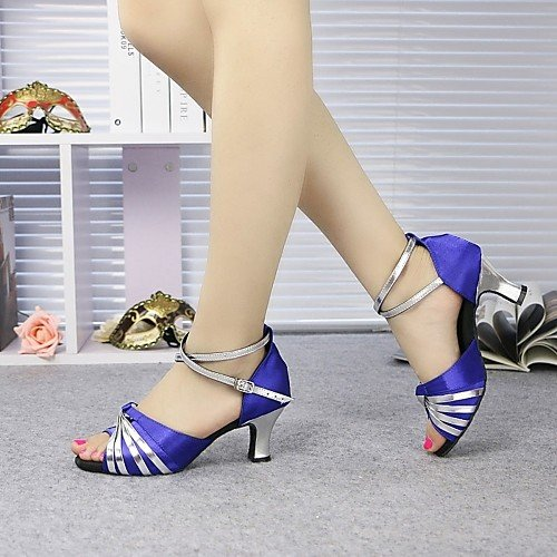 grosso alto e Intermedio Q blu blu Scarpe ballo professionale Tacco Tacco Sliver Tramutante da T raso in Principiante donna da T e w7qSSR8