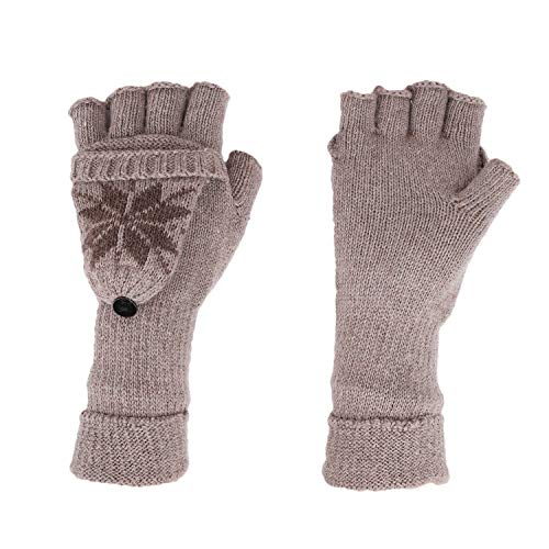 Womens Snowflake Convertible Gloves - Women Girls Christmas Snowflakes Wool Knitted Convertible Flip Top Gloves with Mitten Cover Winter Warm Half Finger Mittens Thermal Cable Fingerless Driving Texting Gloves Hand Warmer