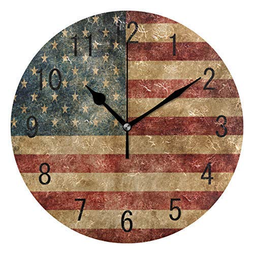 hiusan Vintage American Flag Star Striped Wood Wall Clocks Silent Non Ticking Decorative for Living Room Bedrooms Office 12 Inch for Gifts