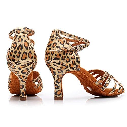 leopard da Scarpe in Alta di da LP 213 Raso Scarpe Ballo Sala Tacchi Latino HROYL Ballo 75inch qualità Donna per 2 Ballo da 7 8Yn5qP8xgw