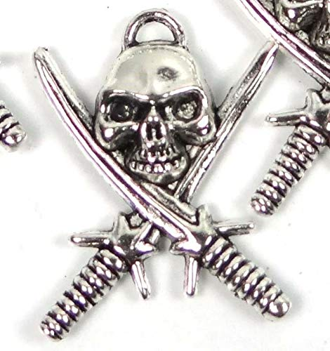 5 Silver Pewter Pirate Skull with Crossed Swords Charm Pendant 35mm ~ Lead-Free