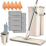 Flat Squeeze Mop and Bucket Set with 4PCS Microfiber Pads Refills 180 Rotated Head Small Self-Wringing Mop Bucket System for Hardwood Laminate Marble Ceramic Tile Floors Cleaning