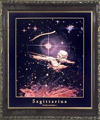 Astrology Sagittarius Nov 23 - Dec 22 Zodiac Mahogany Black Framed Picture Art Print (20x24)